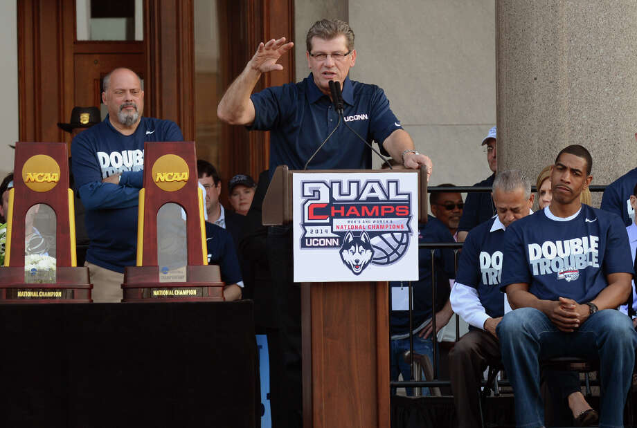 UConn Women's Basketball team Head Coach Geno Auriemma during a Victory Parade and Rally which was held for the UConn Men's and Women's Basketball teams in downtown Hartford, Conn. on Sunday April 13, 2014. Photo: Christian Abraham / Connecticut Post
