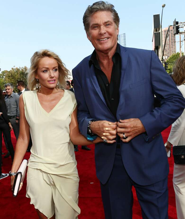 Actor David Hasselhoff (R) and Hayley Roberts attend the 2014 MTV Movie Awards at Nokia Theatre L.A. Live on April 13, 2014 in Los Angeles, California. Photo: Christopher Polk, Getty Images For MTV