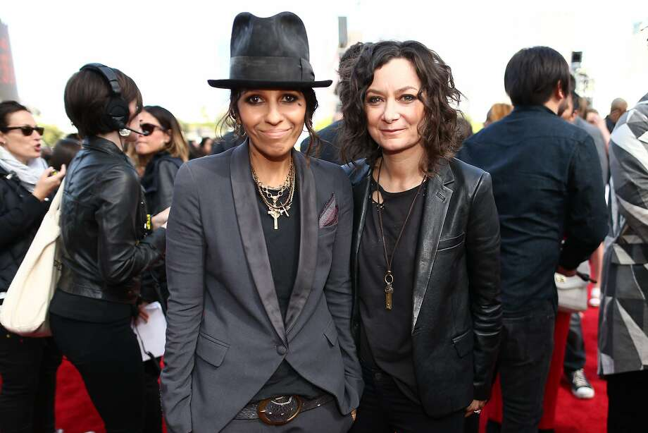 Recording artist Linda Perry (L) and actress Sara Gilbert attend the 2014 MTV Movie Awards at Nokia Theatre L.A. Live on April 13, 2014 in Los Angeles, California.  (Photo by Christopher Polk/Getty Images for MTV) Photo: Christopher Polk, Getty Images For MTV
