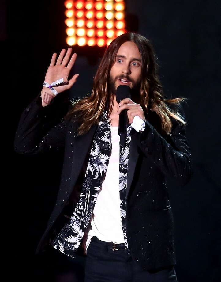 Actor Jared Leto accepts the Best On-Screen Transformation award for 'Dallas Buyers Club' onstage at the 2014 MTV Movie Awards at Nokia Theatre L.A. Live on April 13, 2014 in Los Angeles, California.  Photo: Frederick M. Brown, Getty Images