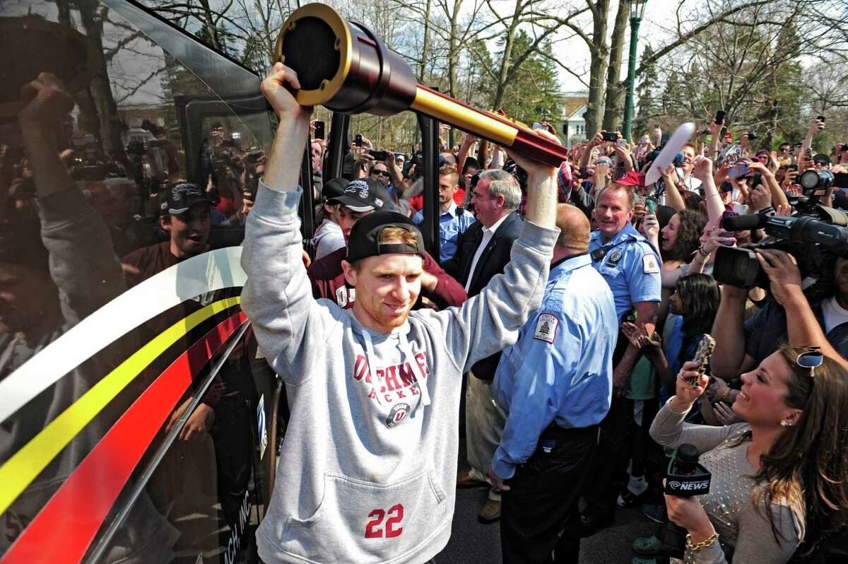 Mat Bodie has agreed to an entry-level contract with the New York Rangers. Click through the slideshow to see more photos of Bodie and other college athletes with offers from the NHL. Union College men's hockey team player, Mat Bodie, carries the NCAA Division I hockey championship trophy off the bus at Union College on Sunday, April 13, 2014, in Schenectady, N.Y. The Union College men's hockey team was returning from Philadelphia where they won the NCAA Division I hockey championship game Saturday night. (Paul Buckowski / Times Union)