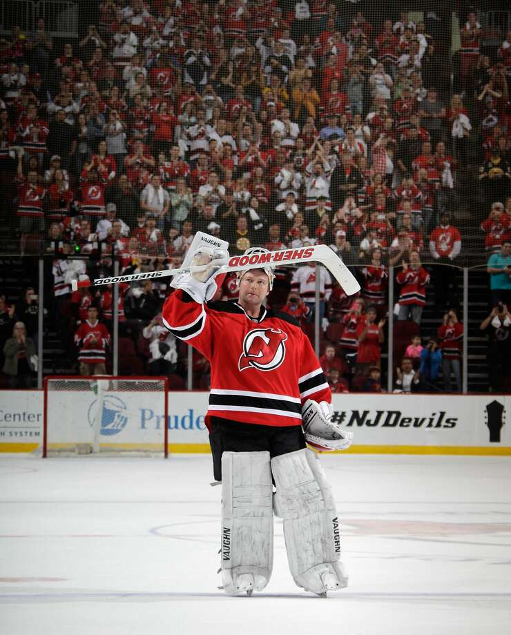 New Jersey's Martin Brodeur acknowledges the fans after completing his 20th season. Photo: Bruce Bennett, Getty Images