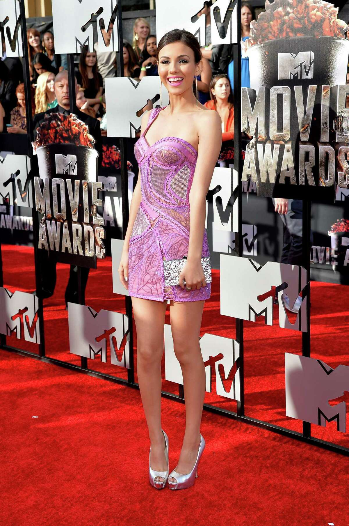 Actress Victoria Justice attends the 2014 MTV Movie Awards at Nokia Theatre L.A. Live on April 13, 2014 in Los Angeles, Calif.