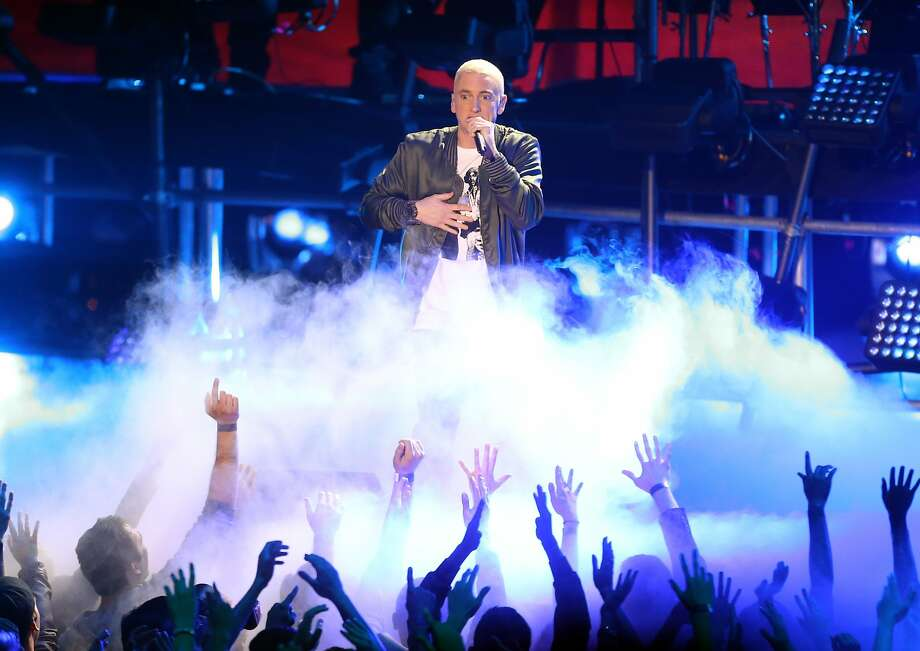Rapper Eminem performs onstage at the 2014 MTV Movie Awards at Nokia Theatre L.A. Live on April 13, 2014 in Los Angeles, California. Photo: Frederick M. Brown, Getty Images