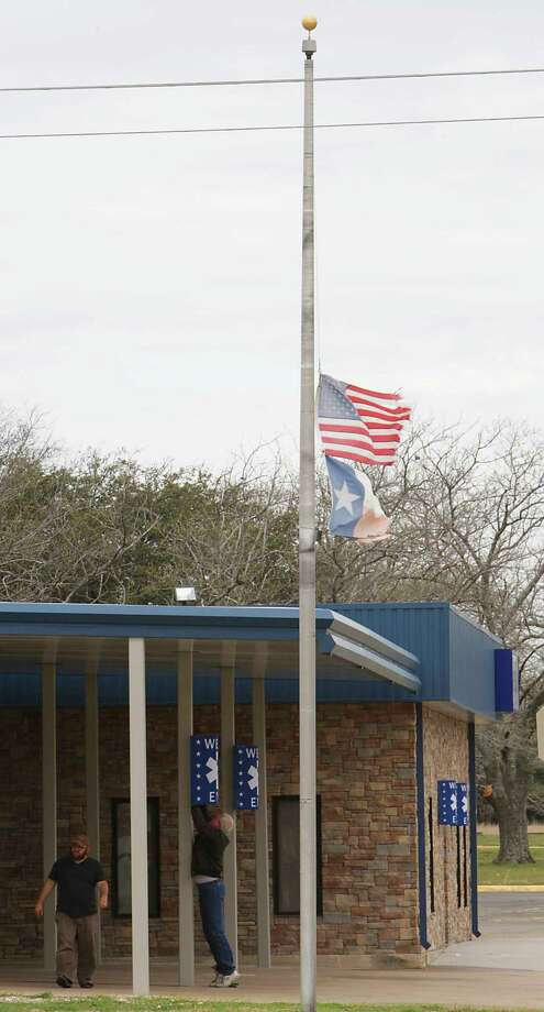 These flags have flown at half-staff since just after the deadly 2013 fertilizer plant explosion as a continuing remembrance of those who died in the blast. Photo: James Nielsen, Staff / © 2014  Houston Chronicle