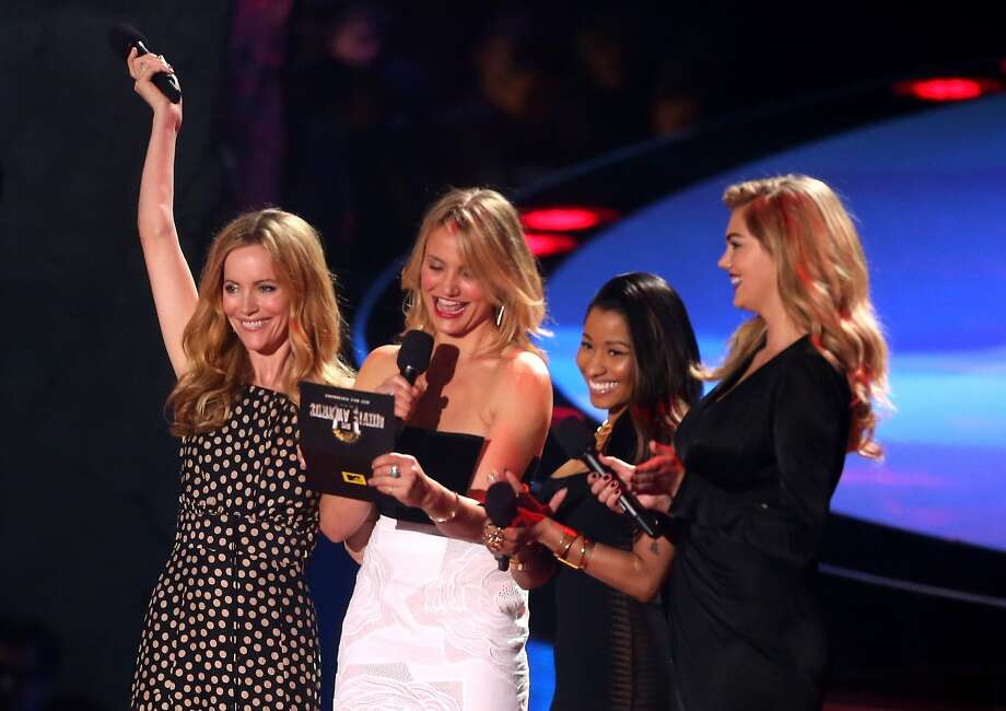 (L-R) Actress Leslie Mann, actress Cameron Diaz, actress-singer Nicki Minaj, and actress-model Kate Upton speak onstage at the 2014 MTV Movie Awards at Nokia Theatre L.A. Live on April 13, 2014 in Los Angeles, California. Photo: Frederick M. Brown, Getty Images
