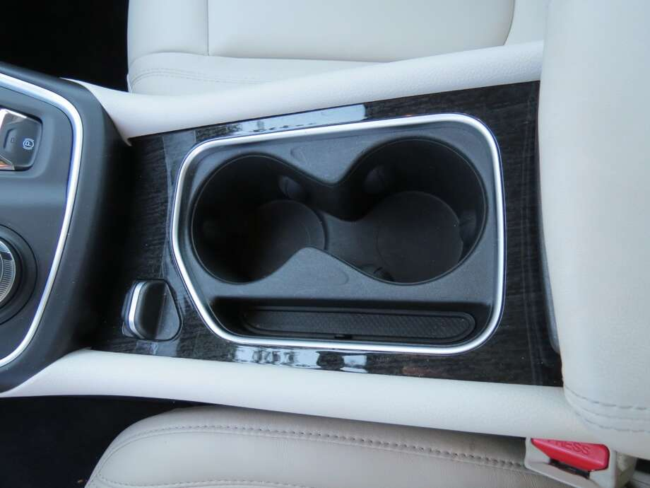 Dual cup holders in the center console.