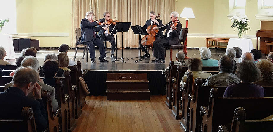About 75 people gathered for a performance by the Orion String Quartet, sponsored Sunday by the Westport Arts Center, at the Seabury Center. Photo: Mike Lauterborn / Westport News