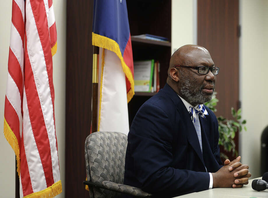 Texas Education Agency Commissioner Michael Williams meets with the media Thursday afternoon to discuss the TEA's next move. Williams met with BISD Superintendent Timothy Chargois and board members at the Region 5 Education Service Center in Edison Plaza on Thursday afternoon. Photo taken Thursday, 4/3/14 Jake Daniels/@JakeD_in_SETX Photo: Jake Daniels / ©2014 The Beaumont Enterprise/Jake Daniels
