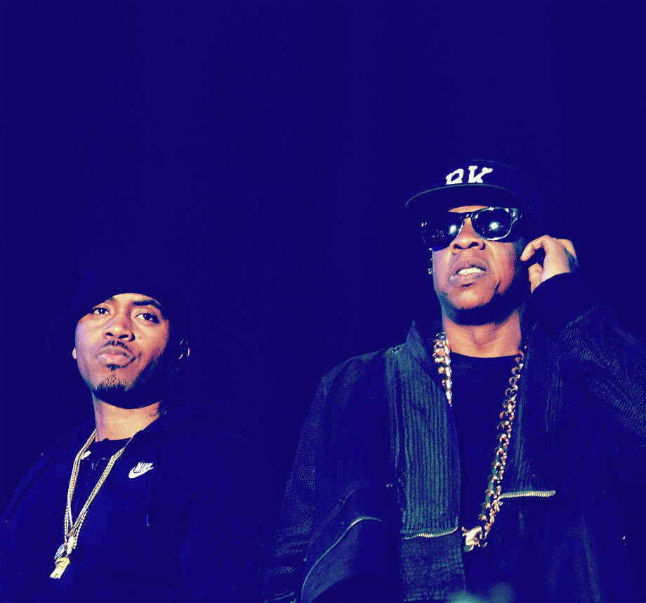 Rappers Nas (L) and Jay-Z  perform onstage during day 2 of the 2014 Coachella Valley Music & Arts Festival. Photo: Frazer Harrison, Getty Images / 2014 Getty Images