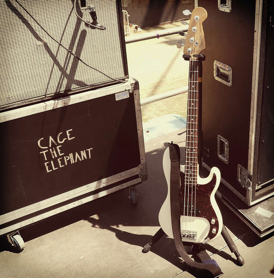 A view of Cage the Elephant's equipment onstage during day 2 of the 2014 Coachella Valley Music & Arts Festival. Photo: Kevin Winter, Getty Images / 2014 Getty Images