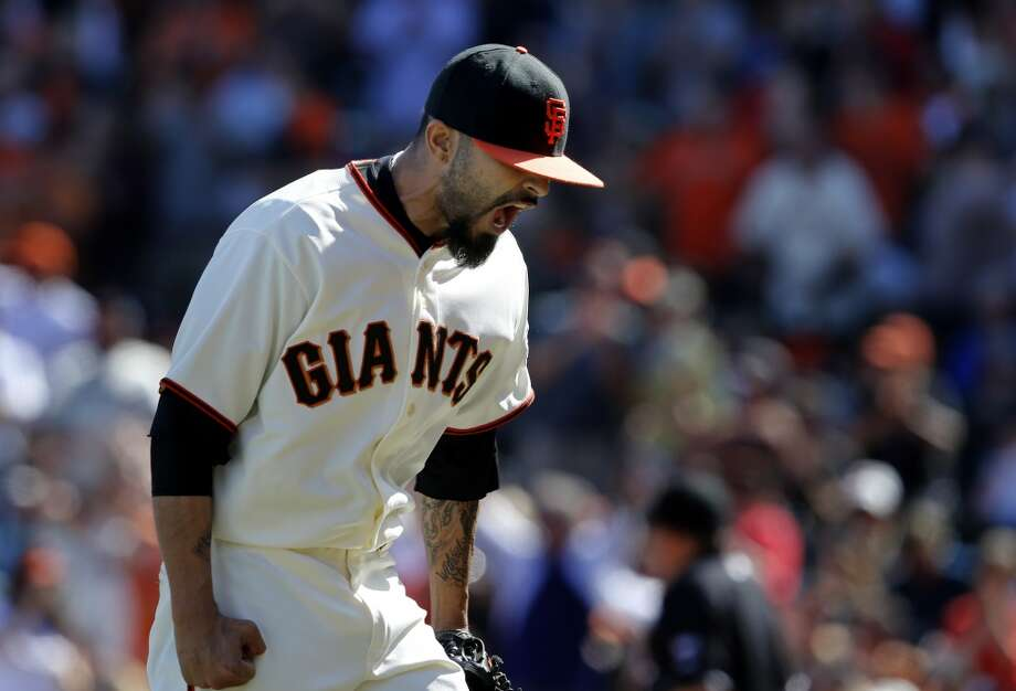 Sergio Romo reacted to a double play which ended the tenth inning. The San Francisco Giants defeated the Colorado Rockies 5-4 in ten innings Sunday April 13, 2014 at AT&T park. Photo: The Chronicle