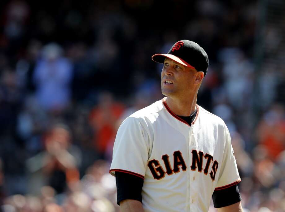 Pitcher Tim Hudson looked back as he walked off the field with a narrow lead. The San Francisco Giants defeated the Colorado Rockies 5-4 in ten innings Sunday April 13, 2014 at AT&T park. Photo: The Chronicle