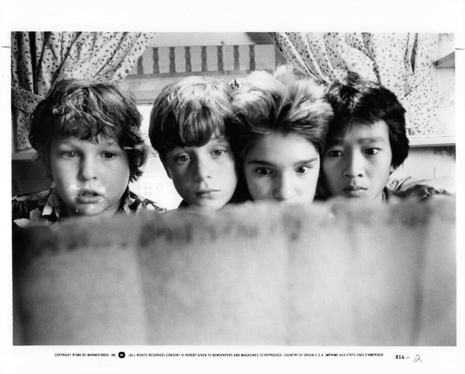 "Getting ready to find the treasure (left to right): Jeff Cohen, Sean Astin, Corey Feldman and Jonathan Ke Quan as Chunk, Mikey, Mouth and Data in ""The Goonies.""  Photo: Michael Ochs Archives, Getty Images / 2011 Getty Images"