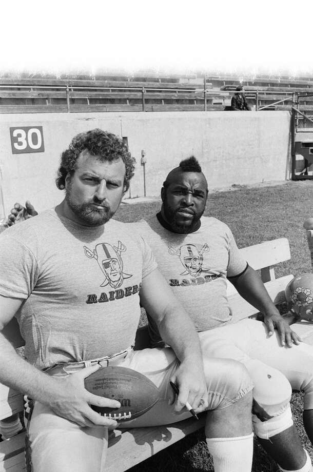 "Football player John Matuszak, left, played ""Sloth"" in ""The Goonies."" Matuszak, who died in 1989, had many movie and TV show appearances, including in ""The A-Team,"" with Mr. T, right.  Photo: NBC, Getty Images / © NBC Universal, Inc."