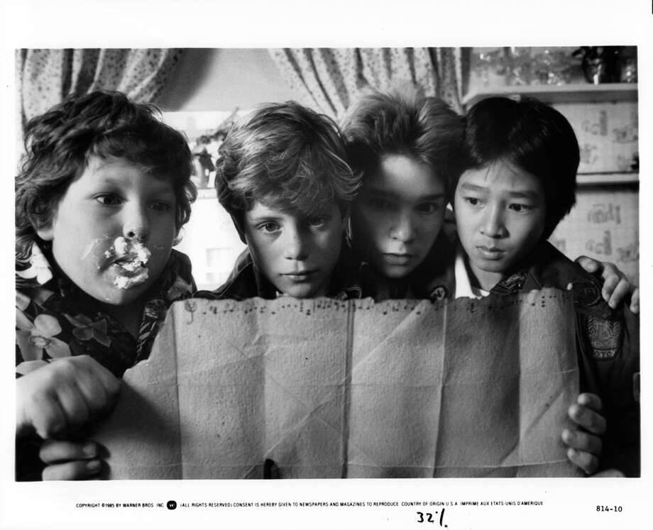 """The Goonies"" kids, left to right: Chunk, Mikey, Mouth and Data, played respectively by Jeff Cohen, Sean Asitin, Corey Feldman and Jonathan Ke Quan.  Photo: Michael Ochs Archives, Getty Images / 2011 Getty Images"
