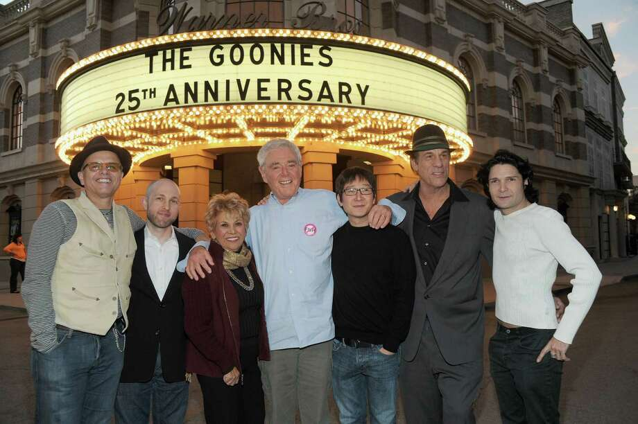"""The Goonies"" cast is pictured at the 25th anniversary celebration of their '80s cult classic movie. From left to right: Joe Pantoliano, Jeff Cohen, Lupe Ontiveros, director Richard Donner, Ke Huy Quan, Robert Davi and Corey Feldman.  Photo: Alberto E. Rodriguez, Getty Images / 2010 Getty Images"