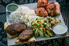 The Combo Kabob plate at Q's Halal Chicken in Alameda, Calif., is seen on Tuesday April 8th, 2014.