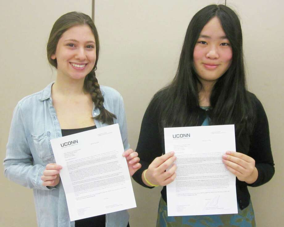 Eden Schumer, left, and Victoria Cao, both studetns at Coleytown Middle School were winners in the 2014 Connecticut Student Writers contest sponsored by the University of Connecticut English Department. Eden was the winner of the Poetry Division and Victoria Cao was awarded an honorable mention for her personal memoir. Photo: Contributed Photo / Westport News