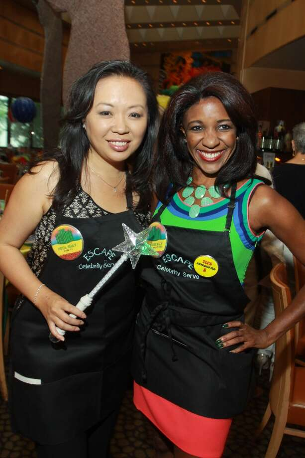 Celebrity servers Miya Shay and Jacquie Baly Photo: Gary Fountain, For The Chronicle