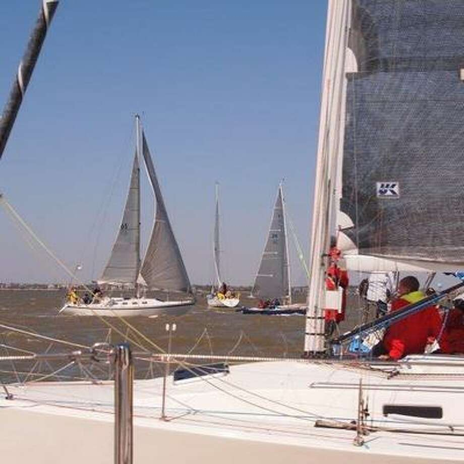 Boats take part in last year's Shoe Race on Galveston Bay.
