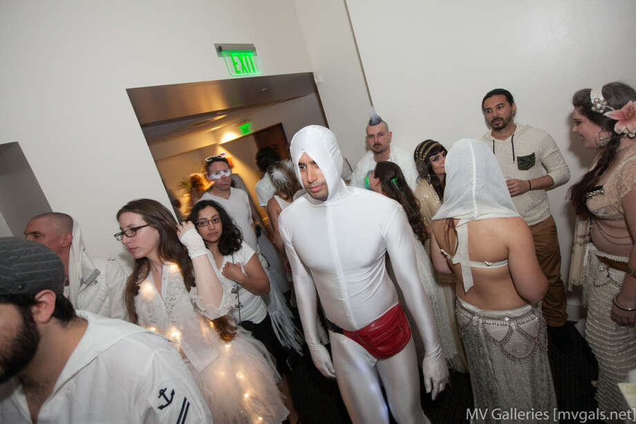 A man in a white spandex suit Photo: Mark Rahmani