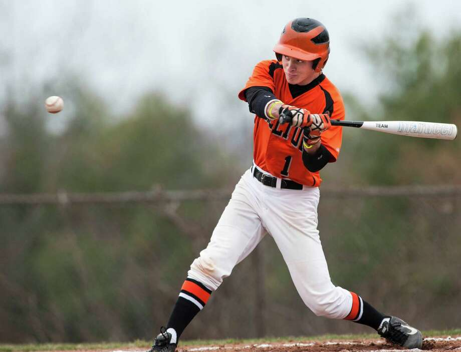 Shelton high school's Michael Ficano at the plate during a boy's baseball game against Cheshire high school played at Shelton high school, Shelton, CT on Monday, April, 14th, 2014. Photo: Mark Conrad / Connecticut Post Freelance