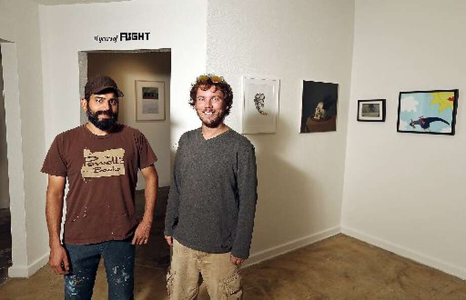 Ed Saavedra and Justin Parr of Fl!ght Gallery in the space at 1906 S. Flores. Photo by Edward A. Ornelas.