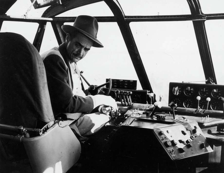 2nd November 1947:  Howard Hughes (1905-1976) in the cockpit of his 219 ft flying boat HK-1, known as the 'Spruce Goose', on the day scheduled for testing when the plane made its only flight. Photo: Keystone, Getty Images / Hulton Archive