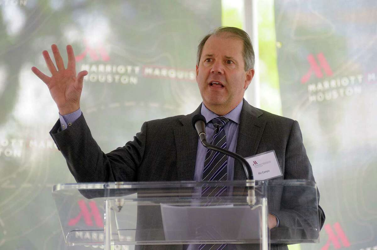 Ric Campo from the Houston First Corporation, speaks during the ground-breaking ceremony for the Marriott Marquis Hotel across from the George R. Brown Convention Center Friday April 11, 2014.(Dave Rossman photo)