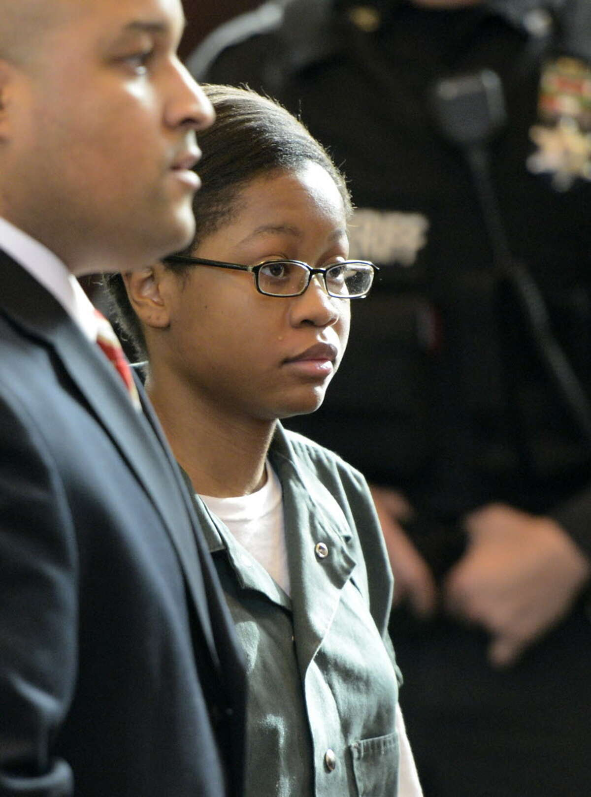 Trinity Copeland, represented by attorney Matthew Smalls, left, is arraigned in front of Judge Andrew Ceresia at the Rensselaer County Courthouse in Troy, N.Y. Dec. 20, 2012. (Skip Dickstein/Times Union archive))