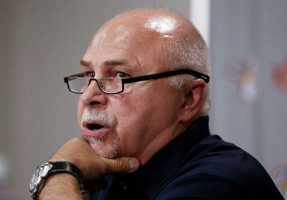 Former Nashville Predators coach Barry Trotz answers questions at a news conference Monday, April 14, 2014, in Nashville, Tenn. The Predators announced earlier in the day that Trotz's contract won't be extended and they will begin looking for a new head coach. Trotz is the only head coach the Predators NHL hockey  team has had. (AP Photo/Mark Humphrey) ORG XMIT: TNMH104 Photo: Mark Humphrey / AP