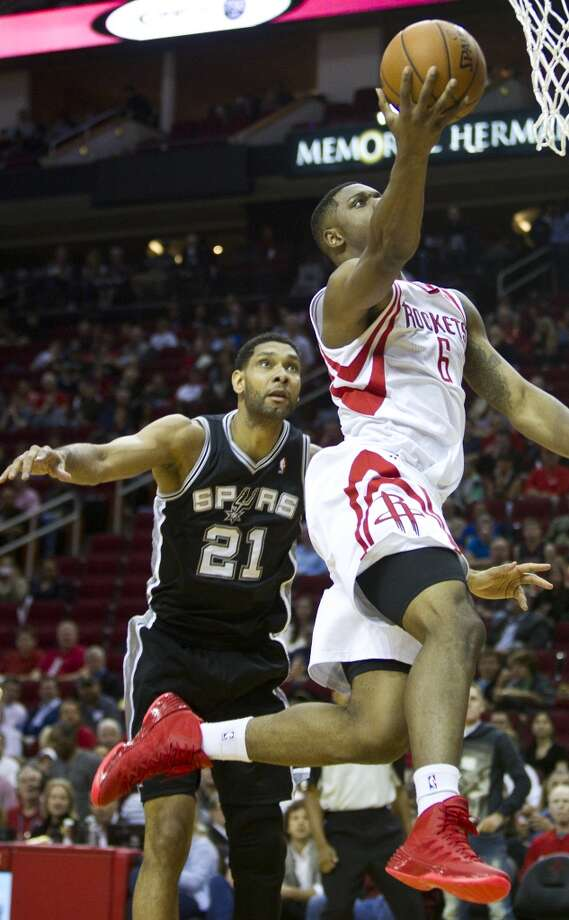 April 14: Rockets 104, Spurs 98  The Rockets completed the season sweep of the Spurs while also clinching first-round home-court advantage in the playoffs.  Record: 54-27 Photo: Brett Coomer, Houston Chronicle