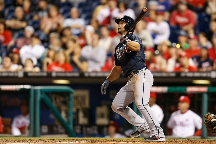 Uggla, right, hit his slam on an 0-2 pitch from Jake Diekman. Photo: Brian Garfinkel, Getty Images
