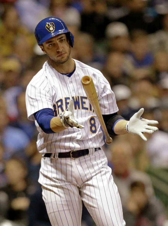 Milwaukee Brewers' Ryan Braun reacts after striking out against St. Louis Cardinals starting pitcher Lance Lynn during the fourth inning of the MLB National League baseball game Monday, April 14, 2014, in Milwaukee. (AP Photo/Jeffrey Phelps) ORG XMIT: WIJP109 Photo: JEFFREY PHELPS / FR59249 AP