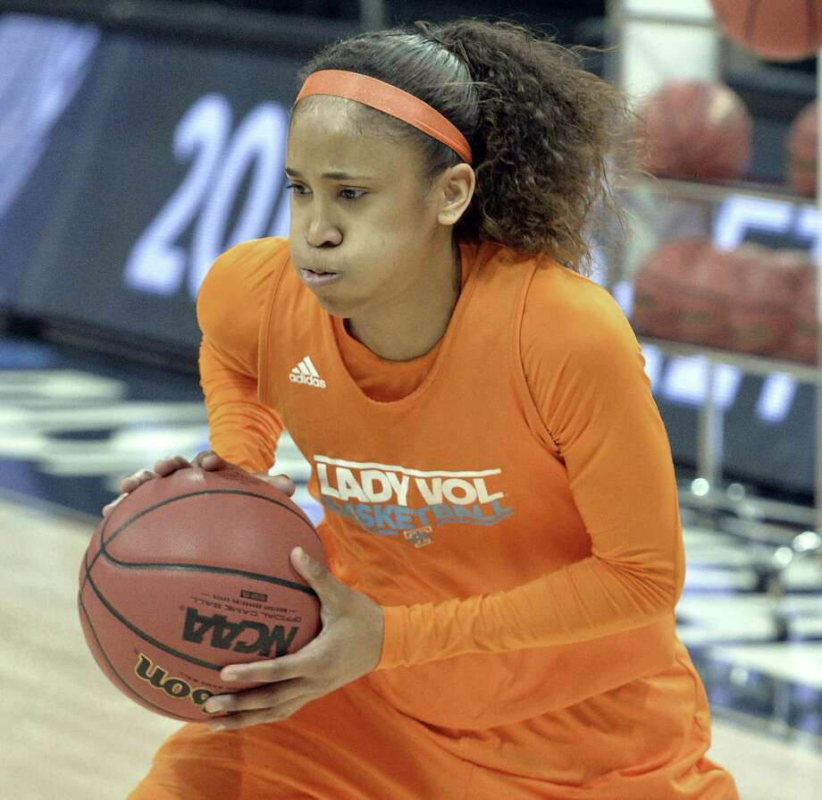 Meighan Simmons was projected to be a first-round pick but fell to the New York Liberty in the third round. Photo: Associated Press / FR43398 AP