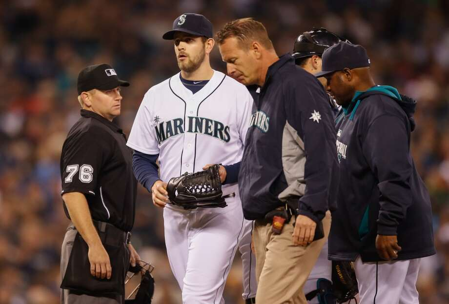 What went wrong?In Tuesday's home opener, M's starter James Paxton had to abruptly leave the game in the top of the sixth inning when he strained his left lat muscle. Paxton had been pitching a gem up to that point, retiring 14 Angels in a row before his final batter. The M's put him on the 15-day disabled list and Paxton is not expected to return to the mound for about a month. With fellow starters Hisashi Iwakuma and Taijuan Walker also injured, Seattle's starting rotation is getting shakier and shakier. Righty Blake Beavan is expected to start this Tuesday in Texas after being called up from Triple-A to fill Paxton's roster spot. Photo: Otto Greule Jr, Getty Images