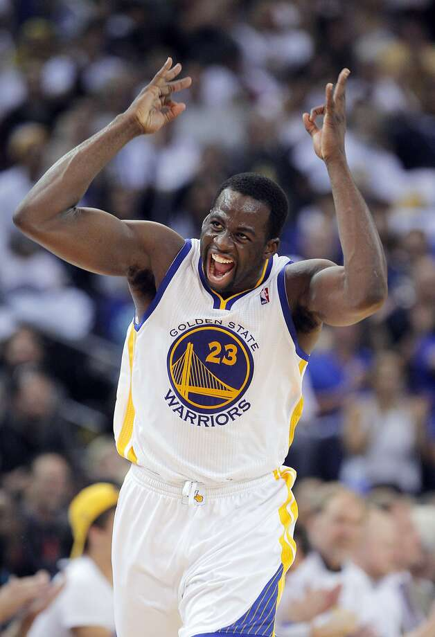 Draymond Green is excited about his three-pointer in the second half. Photo: Carlos Avila Gonzalez, The Chronicle