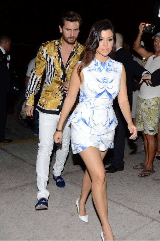 Kourtney Kardashian and Scott Disick are sighted arriving back to their hotel in South Beach on March 12, 2014 in Miami Beach, Florida. (Photo by Dave Lee/GC Images) Photo: Dave Lee, GC Images / 2014 Dave Lee