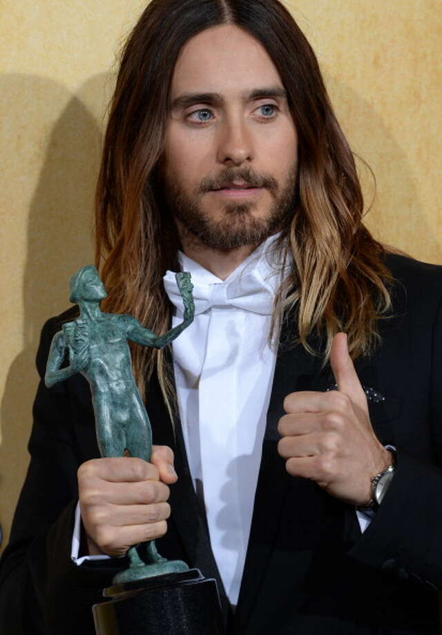 Jared Leto, winner of the Best Male Actor in a Supporting Role award, poses in the press room at the 20th annual Screen Actors Guild Awards, January 18, 2014  at the Shrine Auditorium  in Los Angeles, California.  AFP PHOTO / JOE KLAMAR        (Photo credit should read JOE KLAMAR/AFP/Getty Images) Photo: JOE KLAMAR, AFP/Getty Images / 2014 AFP
