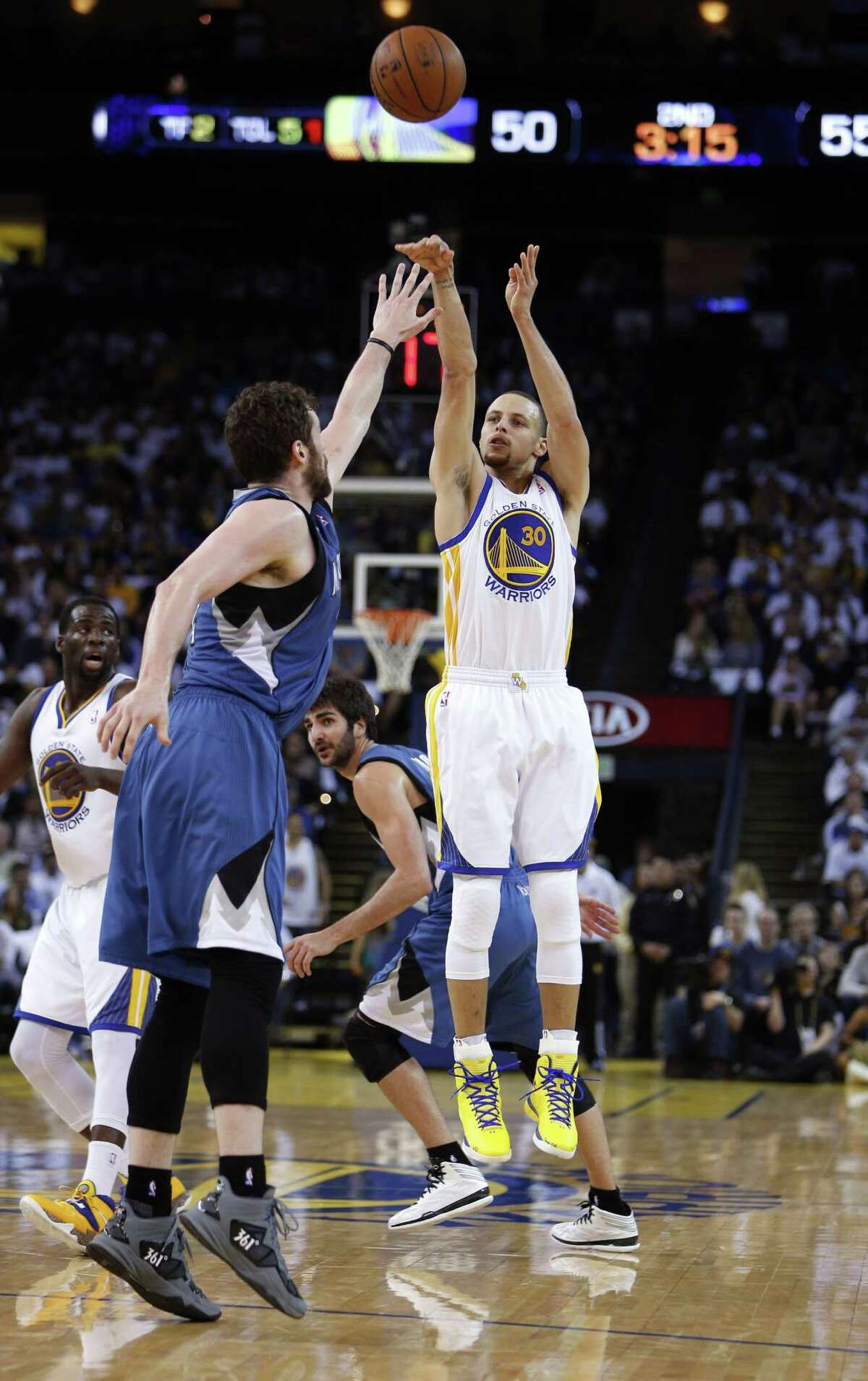 """Stephen Curry (30) joins Klay Thompson to form a potent backcourt for the Warriors. Curry """"has got to among the top 15 players in the world ..."""" ESPN analyst Jeff Van Gundy said. """"And you say to yourself, 'Who guards like Klay Thompson?' I think Klay Thompson's defensive versatility is a perfect fit for Curry."""""""