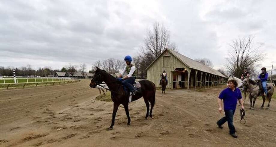 In a sure sign of spring, the  Oklahoma Training Track opened for business on  Tuesday, April 15, 2014. (Skip Dickstein / Times Union)
