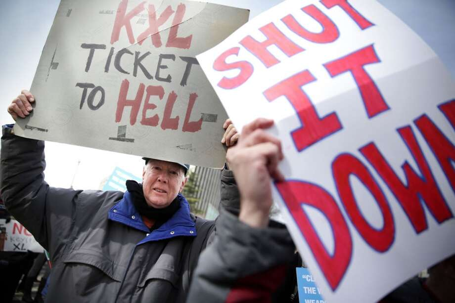 Demonstrators protest against the Keystone XL pipeline, in Washington, D.C., on March 7, 2014. Photo: Alex Wong, Getty Images