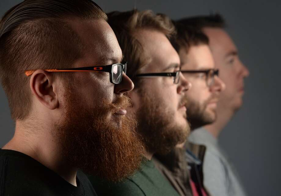 From left, Ryan Olson, Shayne Martin, Aaron Davis and Adam Haynes co-own Texas Beard Company which produces goods that improve the health, smell and strength of a beard. Photo taken Tuesday, April 01, 2014 Guiseppe Barranco/@spotnewsshooter