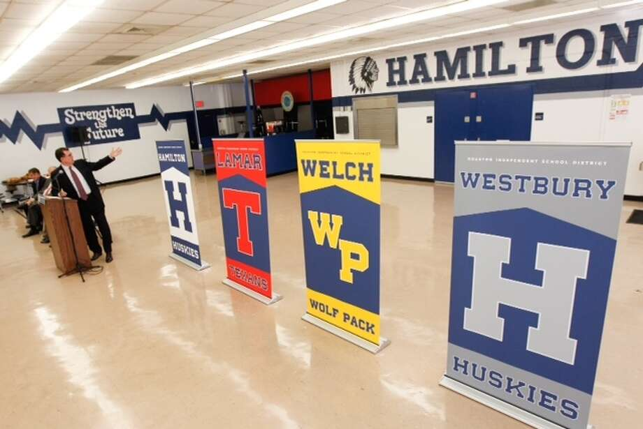 HISD Superintendent Dr. Terry Grier unveils new mascot names for four schools in the district on Tuesday, April 15, 2014, in Houston.  HISD announced the new mascots for Lamar (formerly Redskins) and Westbury (formerly Rebels) high schools and Hamilton (formerly Indians) and Welch (formerly Warriors) middle schools. Photo: Brett Coomer / Houston Chronicle