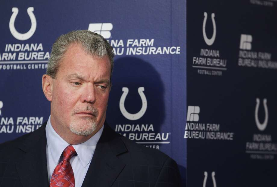 Jim Irsay is not a NFL player, but he's every bit as prominent as one. The Indianapolis Colts owner was arrested on March 17 in Carmel, Indiana for driving a vehicle while intoxicated and faces four felony counts of possession of a controlled substance. Photo: Darron Cummings, Associated Press