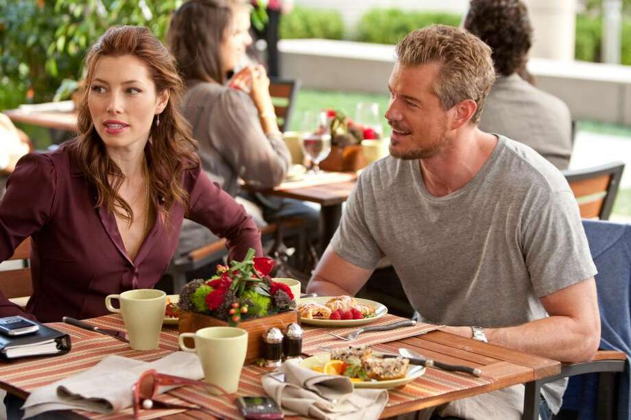 "In this film publicity image released by Warner Bros., Jessica Biel, left, and Eric Dane are shown in a scene from ""Valentine's Day."" (AP Photo/Warner Bros., Ron Batzdorff) Photo: ASSOCIATED PRESS"