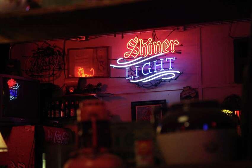 Shiner light sign at Specht's Store.