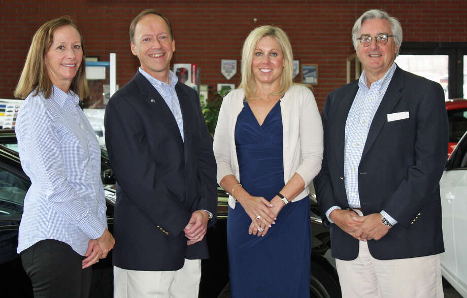 "For the 12th consecutive year, Karl Chevrolet is the ""hole-in-one"" sponsor for Waveny LifeCare Network's annual Swinging for Seniors golf and tennis outing scheduled for Monday, May 19. From left, Sharon Stevenson, Waveny board member and event co-chairman; Stephen J. Karl, vice president of Karl Chevrolet; Sandra B. Graf, vice president, Peopleís United Bank; and Thomas B. Lewis, Waveny's board chairman. Photo: Contributed Photo, Contributed / New Canaan News Contributed"