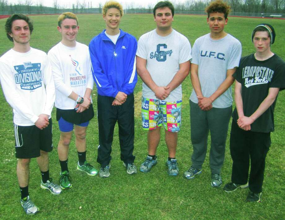 Leadership should be in ample supply for Shepaug Valley High School boys' track thanks to, from left to right, Niko Fiorita, Clayton Firmender, Nathan Ong, James Kish, David Geyer and Nick Quarford. April 2014 Photo: Norm Cummings / The News-Times